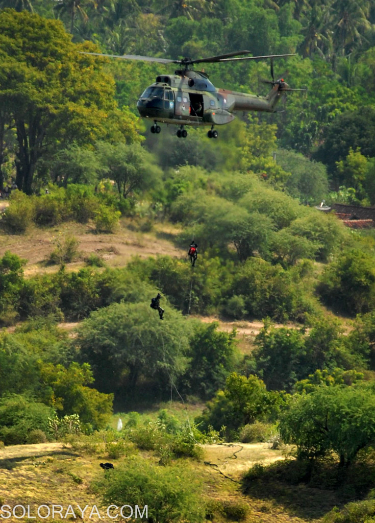 Dua helikopter Super Puma milik Puspenerbad TNI AD, melakukan mobilisasi udara(mobud) penurunan pasukan dengan cara fast rope, di Pusat Latihan Pertempuran (PLP) Marinir-5-Baluran, Asembagus, Situbondo, Jatim, Minggu (1/6). Mobilisasi udara tersebut dilakukan dalam gladi bersih untuk persiapan Latgab 2014 yang dilakukan oleh tiga matra TNI AD, AL dan AU. ANTARA FOTO/Adhitya Hendra/ss/nz/14.
