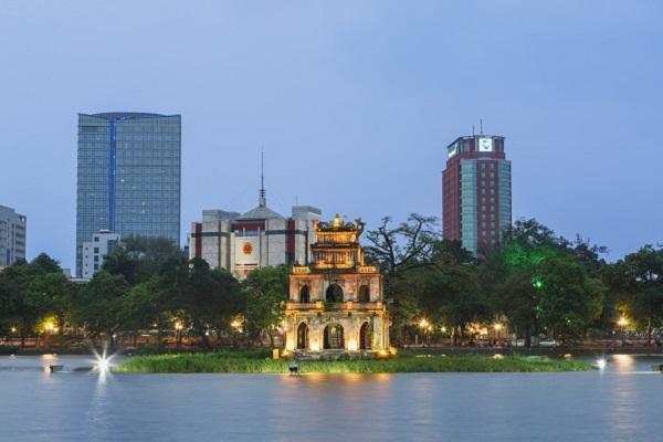 Vietnam, Hanoi, View of Turtle tower and Hoan Kiem Lake. (Photo by: JTB/UIG via Getty Images)